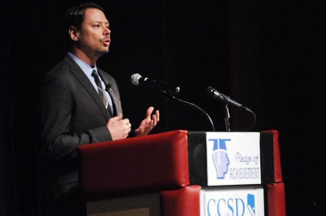 Clark County School District Superintendent Pat Skorkowsky delivers his first State of the District address at Del Sol High School in Las Vegas Monday, April 21, 2014. (Erik Verduzco/Las Vegas Rev ...