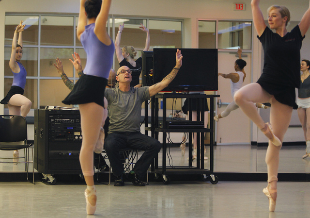 "Nevada Ballet Theatre Artistic Director James Canfield, sitting, oversees a rehearsal for the NBA's season closer ""Coppelia"" in their studio in Summerlin on Thursday, April 24, 2014. (Ja ..."