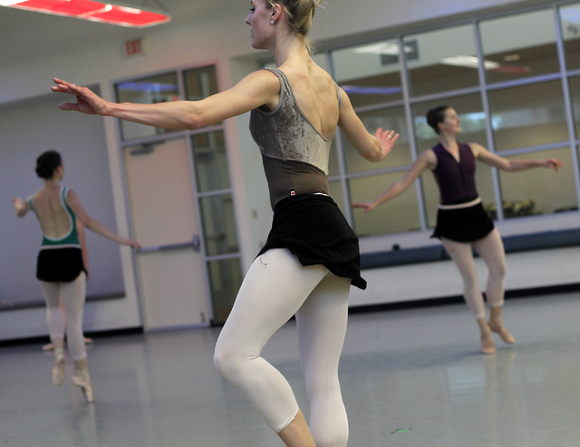 "Nevada Ballet Theatre dancers, including Kaleigh Schock, middle, rehearse for the NBA's season closer ""Coppelia"" in their studio in Summerlin on Thursday, April 24, 2014. (Jason Bean/Las ..."