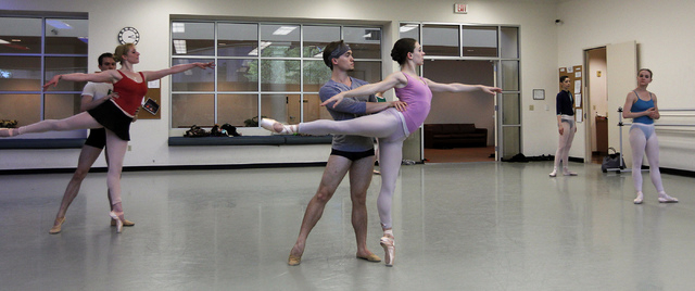 "Nevada Ballet Theatre dancers, including Betsy Lucas and Joshua Kekoa, middle, rehearse for the NBA's season closer ""Coppelia"" in their studio in Summerlin on Thursday, April 24, 2014. ( ..."
