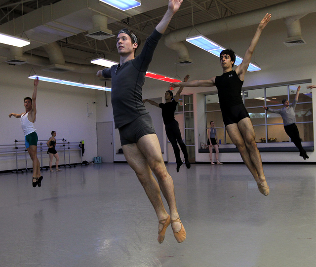 "Nevada Ballet Theatre dancers, including Braeden Barnes, front, rehearse for the NBA's season closer ""Coppelia"" in their studio in Summerlin on Thursday, April 24, 2014. (Jason Bean/Las  ..."