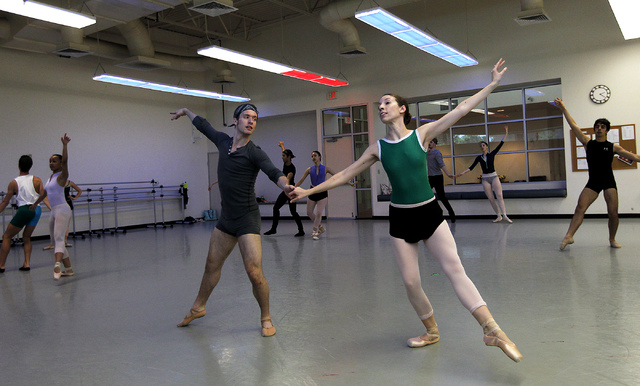 "Nevada Ballet Theatre dancers, including Bryony McCullough, front right, and her partner Braeden Barnes rehearse for the NBA's season closer ""Coppelia"" in their studio in Summerlin on Th ..."