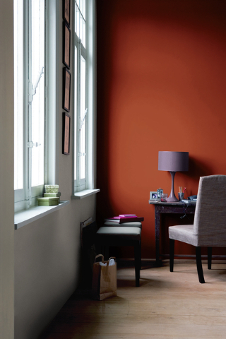 Glidden's Crisp Autumn Leaves gives a moody, rich look to this room. Illustrates DESIGN-PAINT (category l), by Jura Koncius, (c) 2014, The Washington Post.  Moved Thursday, February 27, 2014. (M ...