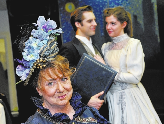 """From left, Barbara King, as Lady Bracknell, Alex Olson as Jack Worthing and Abby Dandy as Gwendolen Fairfax perform during a rehearsal of Oscar Wilde's """"The Importance of Being Earnest"""" at the Ony ..."""