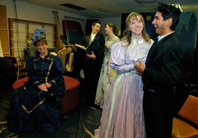 From left, Barbara King, as Lady Bracknell, Alex Olson as Jack Worthing, Abby Dandy as Gwendolen Fairfax, Tara Thompson as Cecily Cardew and Edgar Nunez as Algernon Moncrieff perform during a rehe ...