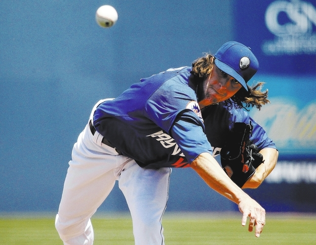 Jacob deGrom pitching at Cashman Field in Las Vegas on Sunday, April 20, 2014. Degrom is off to one of the best starts for a 51s pitcher in franchise history. (Justin Yurkanin/Las Vegas Review-Jou ...