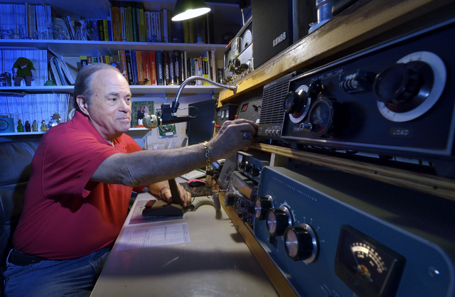 Jerry Sobel, president of the Las Vegas Radio Amateur Club, is shown with his ham radio equipment at his home in Las Vegas on Wednesday, April 30, 2014. (Bill Hughes/Las Vegas Review-Journal)