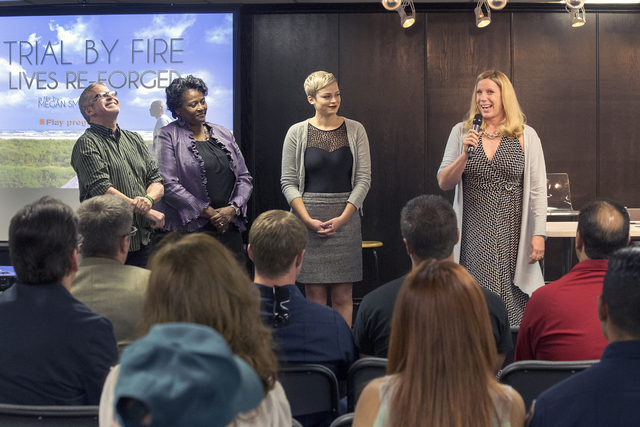 """Speakers deliver a presentation before a screening of the documentary """"Trial by Fire: Lives Re-Forged,"""" which features burn survivors. The screening took place April 15 at The Learning Village, 72 ..."""