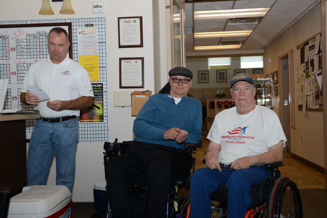 From left, Andy McDonald, Dan Kaminski and Kenny Rogers gather at a trap shooting event hosted by the Paralyzed Veterans of America's Nevada chapter. The nonprofit serves paralyzed and disabled ve ...