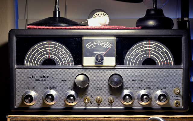A Hallicrafters receiver from the early 1950s is shown in the home of Jerry Sobel, president of the Las Vegas Radio Amateur Club, in a room housing his ham radio equipment in Las Vegas on Wednesda ...