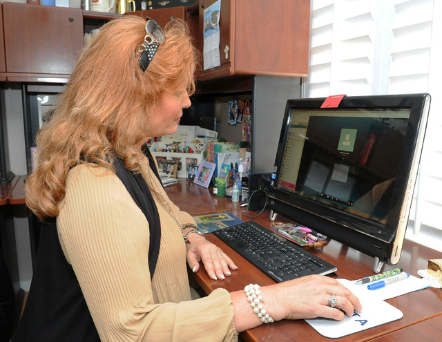 Kathleen Keutmann tries to reach her son Patrick using Skype at her home in Henderson, Monday, April 28, 2014. Patrick is serving in Okinawa. (Jerry Henkel/Las Vegas Review-Journal)