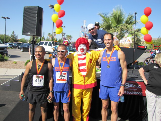 Participants gather near Ronald McDonald during the Runnin' for the House 5K run and 1-mile walk hosted by Ronald McDonald House Charities of Greater Las Vegas in 2013. This year's Runnin' f ...