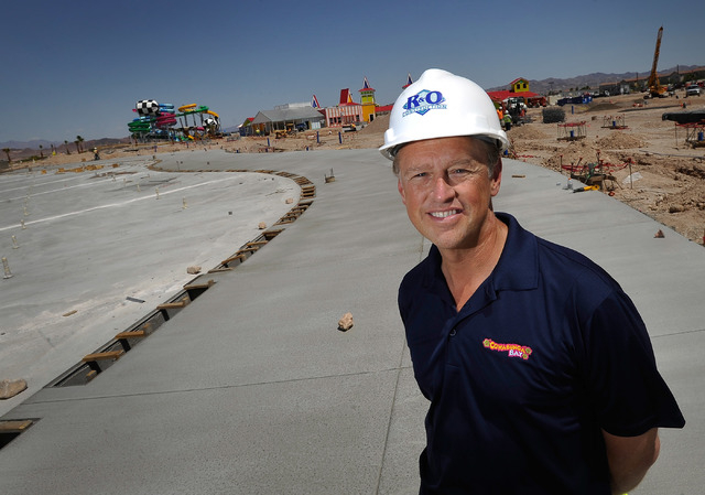 Cowabunga Bay park manager Shane Huish surveys  the water park that is under construction along Galleria Drive in Henderson on Monday, May 12, 2014. The 23-acre, $25 million project is scheduled t ...