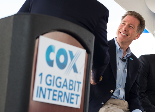 Pat Esser, president of Cox Communications, is introduced during an event to announce gigabit Internet speeds for residential customers Thursday, May 22, 2014 in Henderson. Las Vegas, Phoenix and  ...