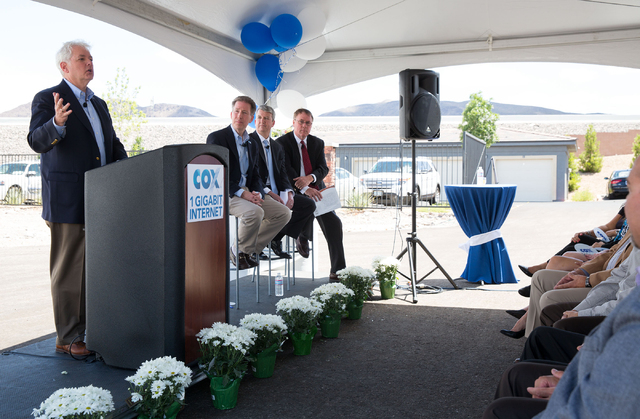 Mike Bolognini (cq), Cox Communications Las Vegas Market Vice President, talks during an event to announce gigabit Internet speeds for residential customers Thursday, May 22, 2014 in Henderson. La ...