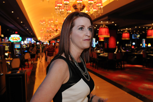 Karie Hall, vice president at The Cromwell, gives a tour of the casino during the hotel-casino's grand opening Wednesday, May 21, 2014. (Erik Verduzco/Las Vegas Review-Journal)