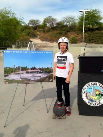 Dalton Taylor, 10, poses for a photo during the groundbreaking for a new shade structure at the Sunny Springs Park Skate Park, at 7620 Golden Talon Ave. in Las Vegas, Tuesday, April 15. Taylor, a  ...
