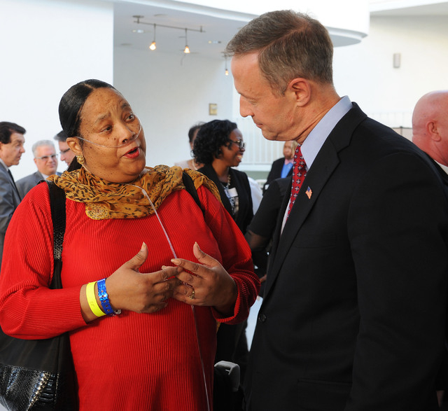Edith Byrd, third vice chairman for the Nevada Democratic Party, talks with Maryland Gov. Martin O'Malley at the Nevada Democratic Party's Jefferson-Jackson dinner at the Tropicana hotel-casino in ...
