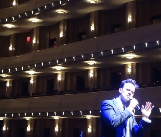 Cheyenne Jackson performs at Reynolds Hall at the Smith Center Wednesday night. (Norm Clarke/Las Vegas Review-Journal)