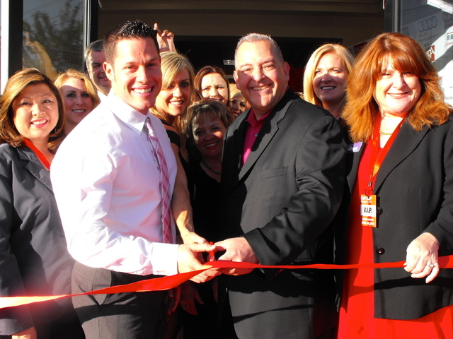 Denny Seybert, center left, and Jaime Velez, center right, celebrate the grand opening of the new Henderson office of Keller Williams Realty Southern Nevada April 30. (Special to View)