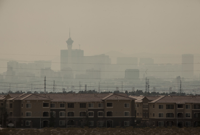 Clark County officials issued a moderate air quality advisory for dust for Monday through Tuesday morning. High winds are expected. (File, Jeff Scheid/Las Vegas Review-Journal)