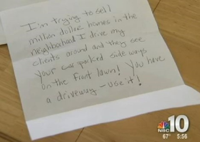 An elderly couple in Ocean City, New Jersey, was shocked this week to get a nasty anonymous letter from a real estate agent criticizing their house's curb appeal. (Screen grab, NBC Philadelphia)