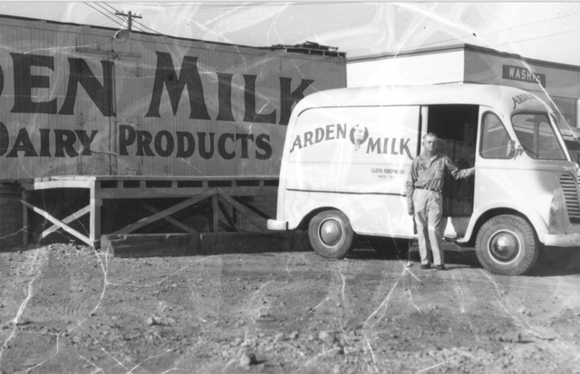 Lloyd Foremaster, seen in a 1954 photo, was a distributer for Arden Dairy, while his brother Lamar Foremaster was the manager of Anderson Dairy. Foremaster Lane, which abuts the current Anderson D ...