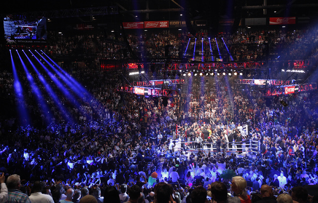 The crowd waits for the start of the Marcos Maidana versus Floyd Mayweather Jr. welterweight title bout at the MGM Grand in Las Vegas Saturday, May 3, 2014. (John Locher/Las Vegas Review-Journal)