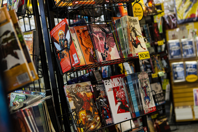 Spiderman comics are seen on display at Alternate Reality Comics, 4110 S. Maryland Parkway, in Las Vegas on Wednesday, April 23, 2014. The store is slated to participate in Free Comic Book Day on  ...