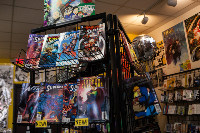 A selection of Superman and Supergirl comics are seen on display at Alternate Reality Comics, 4110 S. Maryland Parkway, in Las Vegas on Wednesday, April 23, 2014. The store is slated to participat ...
