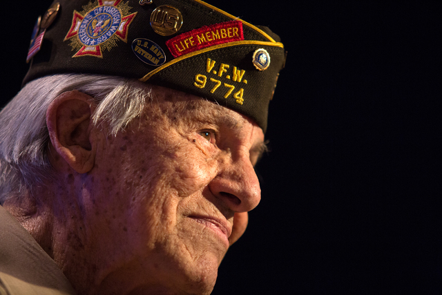 Gaetano R. Benza, 89, talks about being awarded the Legion of Honor by the French government for his service in World War II during a ceremony presentation at the Silverton on Friday, May 30, 2014 ...