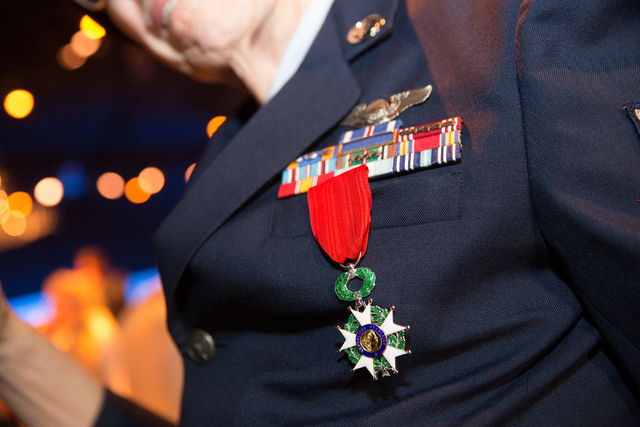 Davis B. Leonard wears his Legion of Honor medal after a presentation ceremony at the Silverton on Friday, May 30, 2014. (Samantha Clemens-Kerbs/Las Vegas Review-Journal)