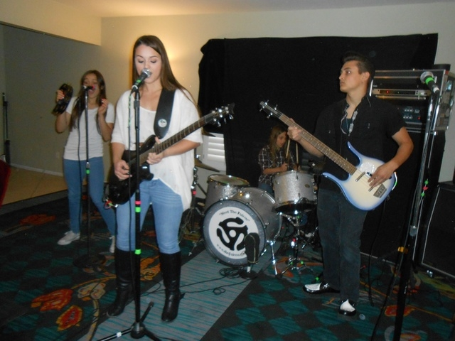 """Joei & The Fulcos practice April 29 in their home studio in Summerlin. The family band's lead singer, Joei, was tapped to appear in an independent horror film, """"Heidi,"""" which is soon to be release ..."""