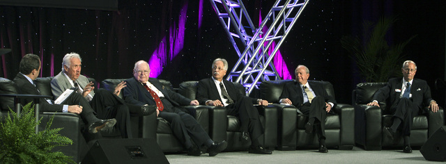 Gaming VIPs take part in a roundtable discussion during G2E [Global Gaming Expo] in Las Vegas, Wednesday, Nov. 17, 2010. Roundtable participants, from left, host Jon Ralston, IGT exec Chuck Mathew ...