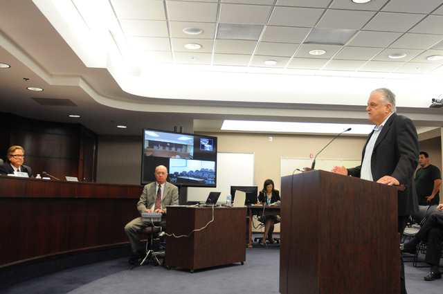 Clark County Commissioner Steve Sisolak, right, speaks during a hearing at the Nevada Gaming Commission at the Sawyer Building in Las Vegas Thursday, May 22, 2014. (Erik Verduzco/Las Vegas Review- ...
