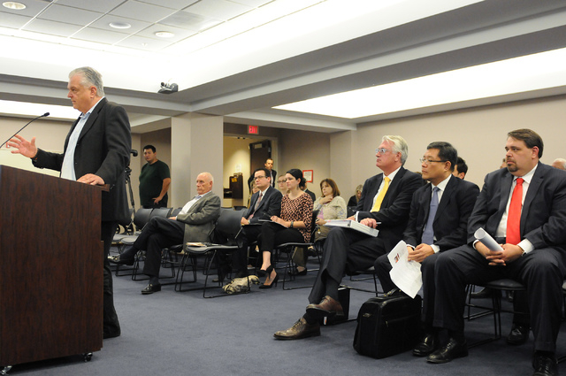 Clark County Commissioner Steve Sisolak, left, speaks during a hearing at the Nevada Gaming Commission at the Sawyer Building in Las Vegas Thursday, May 22, 2014. (Erik Verduzco/Las Vegas Review-J ...