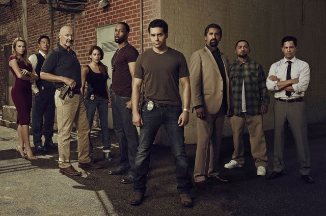 """""""Gang Related"""" follows Ryan Lopez (Ramon Rodriguez, foreground), a rising star in Los Angeles' elite Gang Task Force who, long before he was a cop, pledged allegiance to a different band of brothe ..."""