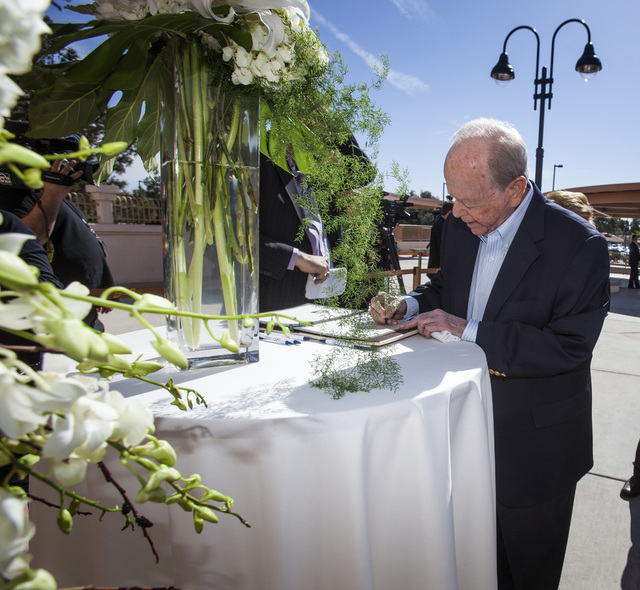 Casino executive Burton Cohen arrive for the funeral for casino pioneer Jackie Gaughan on Monday, March 17, 2014 St Viator Catholic Churc , 2461 E. Flamingo Road. (Jeff Scheid/Las Vegas Review-Jou ...