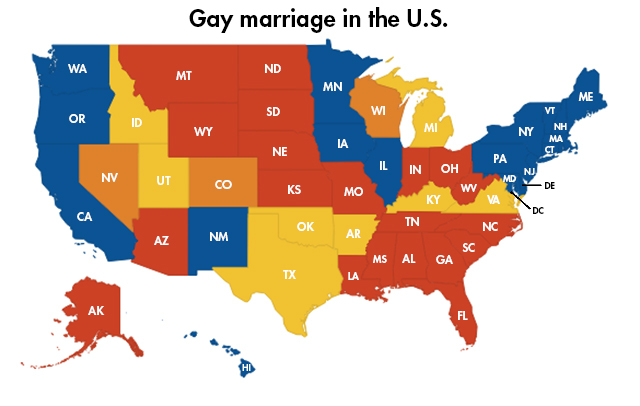 Heres the status of gay marriage in every state Las Vegas Review