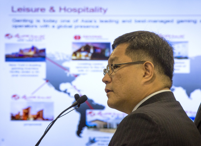 Kong Han Tan, president and CEO of Genting Berhad ,  speaks  during a suitability hearing front of the Nevada Gaming Control Board  at  Sawyer Building on Wednesday, May 7, 2014. Genting Group is  ...
