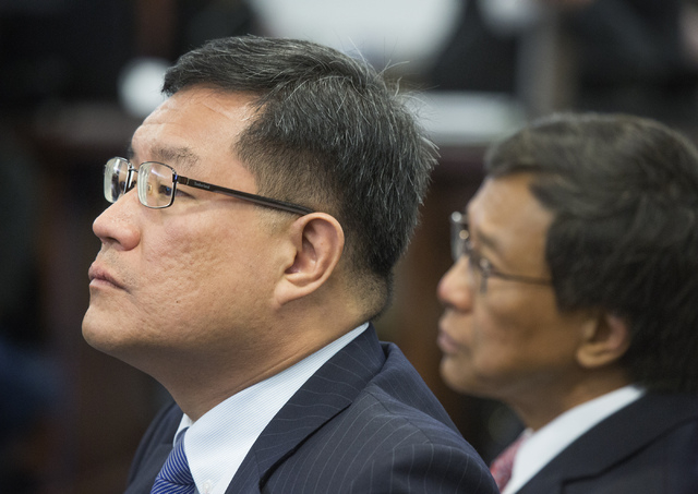 Genting Berhad executives Kong Han Tan, left,  president and CEO  and Kok Thay Lin, CEO during a suitability hearing  in front of the Nevada Gaming Control Board  at  Sawyer Building on Wednesday, ...
