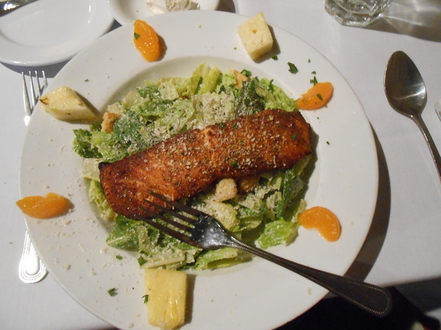 The blackened salmon salad at Grape Street sits on a bed of Caesar salad with Mandarin oranges and pineapple slices for a citrus tang. The restaurant is at 7501 W. Lake Mead Blvd., Suite 120. (Jan ...