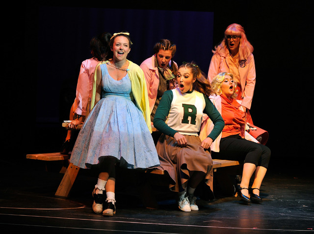 """Niki Scalera, left, as Sandy, performs with other cast members during a rehearsal for Nevada Conservatory Theatre's production of """"Grease,"""" at the Judy Bayley Theatre on Monday, April 28 ..."""