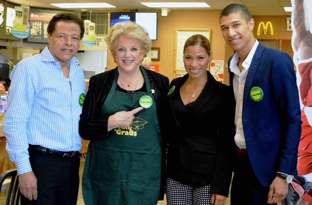 From left, McDonald's owner/operator Harold Lewis, Las Vegas Mayor Carolyn Goodman and Lewis' children Jennifer and Jonathan stand together during the Green for Grads fundraiser held April 17. Sou ...