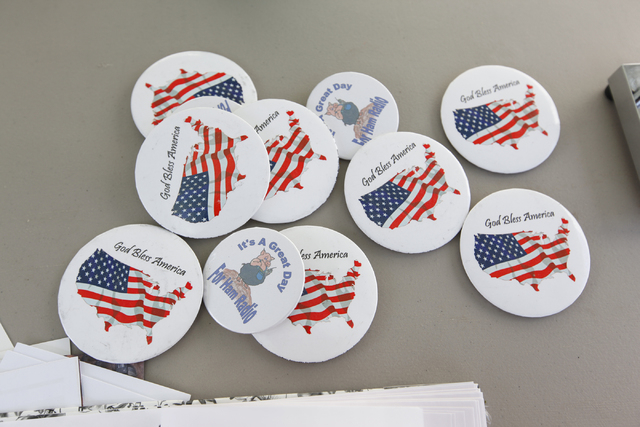 Pins promoting HAM radio along with American patriotism are seen as the Sisterhood of Amateur Radio group holds a 12-hour event to make contacts outside of Amateur Electronic Supply, 4640  Polaris ...