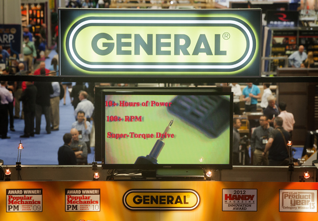 The General Specialty Tools & Instruments booth as seen  Tuesday, May 6, 2014 during  the National Hardware Show in the Las Vegas Convention Center. More than 27,000 people are expected to attend  ...
