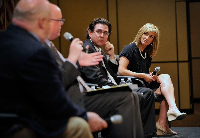 Panelists from left, Dan Hart, political consultant advising the Nevada State Education Association; moderator Steve Sebelius; Jeremy Aguero, principal analyst with Applied Analysis and Karen Grif ...