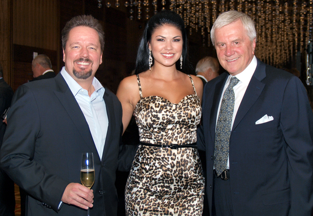 Terry Fator, from left, Taylor Makakoa, and Sig Rogich
