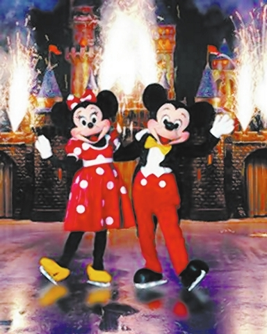 "Minnie and Mickey Mouse join the fun in ""100 Years of Magic,"" the latest Disney on Ice show, which continues this weekend at the Thomas & Mack Center. (Courtesy)"
