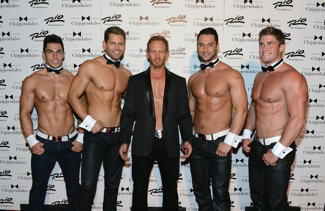 LAS VEGAS, NV - JUNE 08:  Chippendales cast members Jon Howes, Jaymes Vaughan, Ian Ziering, James Davis and Gavin McHale pose for photos at the Rio All-Suite Hotel and Casino on June 8, 2013 in La ...